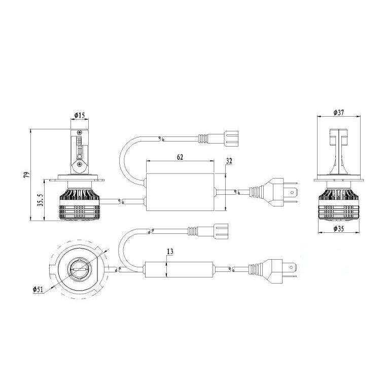 Kit Ampoules LED H4 DEMON RGB